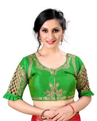 Green Women's Embroidered santoon Silk Blouse