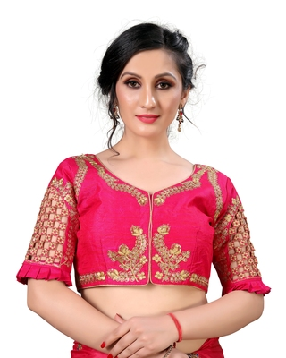 Pink Women's Embroidered santoon Silk Blouse