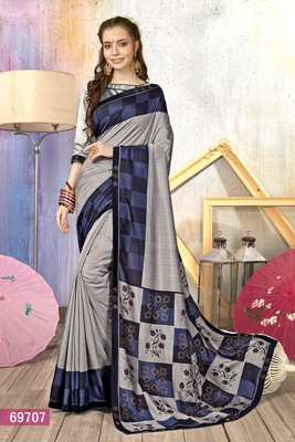 Silver Printed Cotton Silk Saree With Blouse