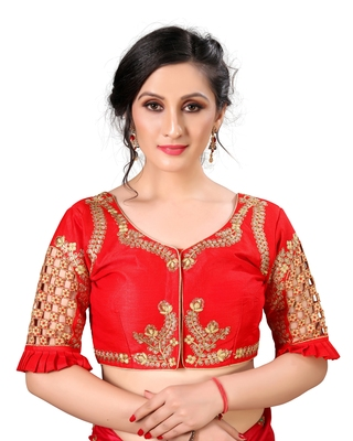 Red Women'S Embroidered Santoon Silk Blouse