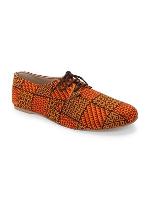 Women Ethnic Rustic Orange Oxfords Shoes