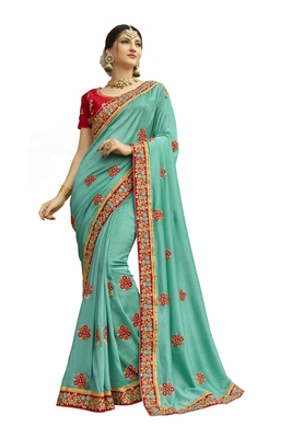 turquoise embroidered cotton silk saree with blouse