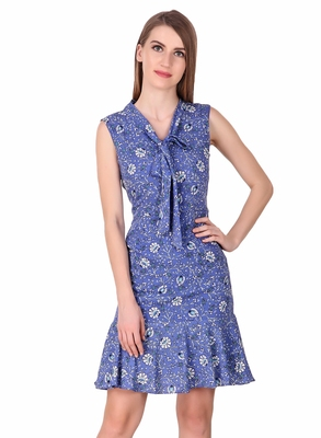 Blue floral print cotton short-dresses