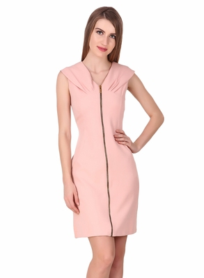 Pink solid cotton short-dresses