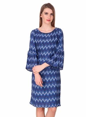 Blue printed viscose rayon short-dresses