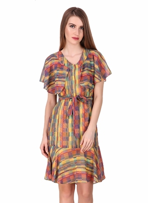 Multicolor printed georgette short-dresses