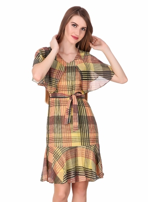 Multicolor printed georgette short-dresses