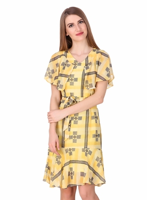 Yellow printed georgette short-dresses