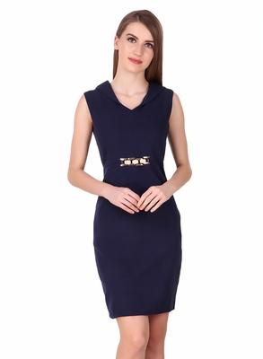Blue solid cotton short-dresses