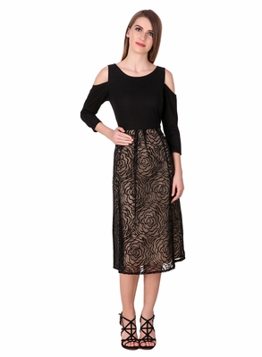 Black self design cotton short-dresses