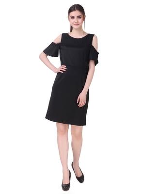 Black solid cotton short-dresses