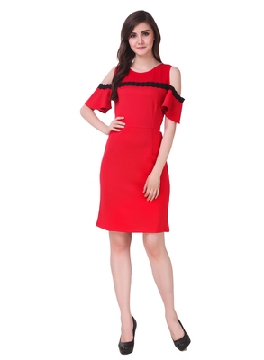 Red solid cotton short-dresses