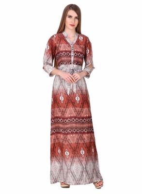 Brown printed viscose rayon maxi-dresses