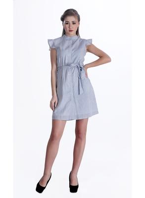 Blue striped cotton short-dresses
