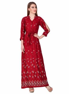 Red printed viscose rayon maxi-dresses