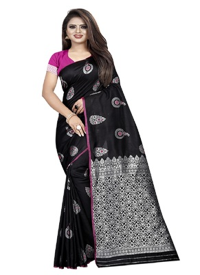 Black woven kanchipuram silk saree with blouse