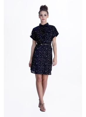 Black printed cotton short-dresses