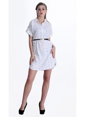 White printed cotton short-dresses