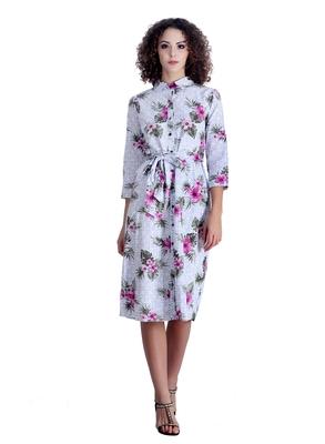 White floral print cotton short-dresses