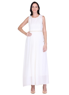 White solid georgette maxi-dresses