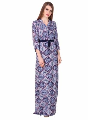 Blue printed viscose rayon maxi-dresses