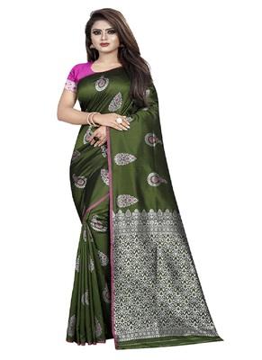 Mehendi woven kanchipuram silk saree with blouse