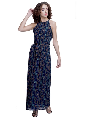 Blue printed georgette maxi-dresses