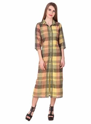Yellow printed cotton long-dresses