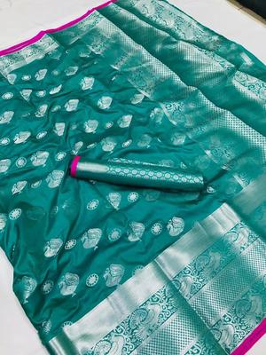WOMEN'S DESIGNER SEA GREEN BANARASI KANJIVARAM SAREE WITH DESIGNER BLOUSE