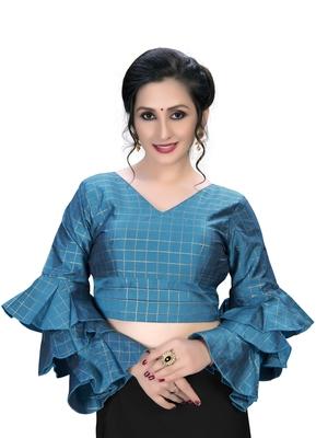 Light Blue  Women's Embroiderey Silk Blouse