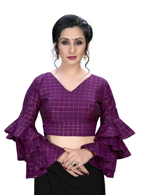 Magenta  Women's Embroiderey Silk Blouse