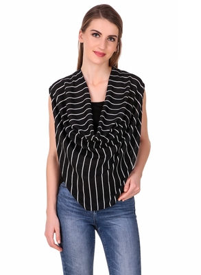 Black striped crepe sleeveless-tops
