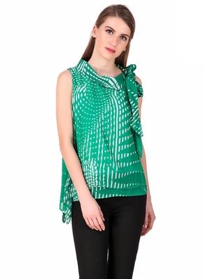 Green self design georgette sleeveless-tops