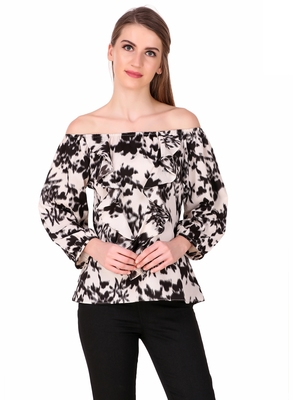Black printed cotton cotton-tops