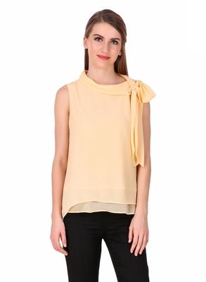 Beige plain georgette sleeveless-tops