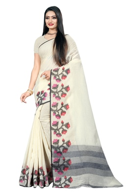Cream woven linen saree with blouse