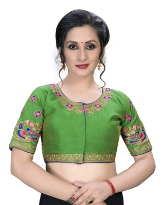 Green  Women's Embroiderey santoon Silk Blouse