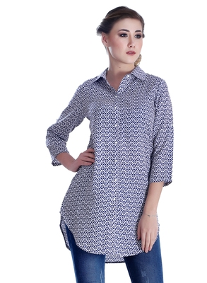 Blue printed georgette party-tops