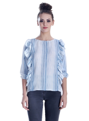 Blue striped cotton cotton-tops
