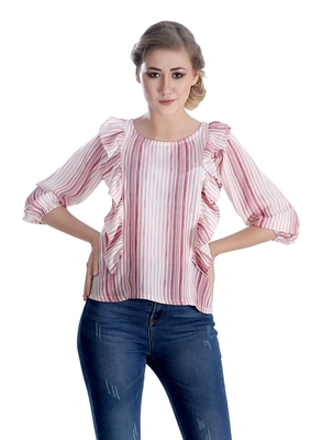 Pink striped cotton cotton-tops
