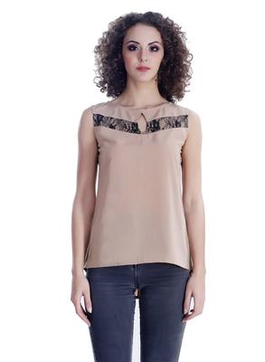 Beige self design georgette sleeveless-tops