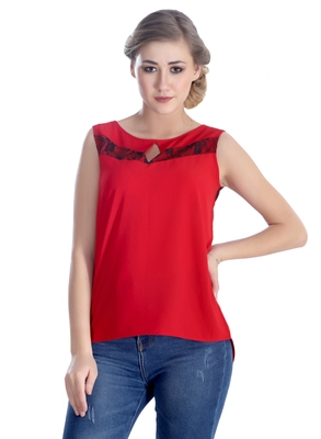 Red self design georgette sleeveless-tops