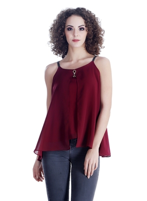 Red plain georgette sleeveless-tops
