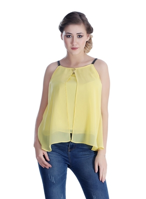 Yellow plain georgette sleeveless-tops