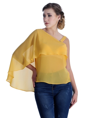 Yellow plain georgette party-tops