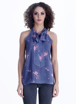 Blue printed georgette sleeveless-tops