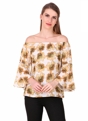 Yellow printed cotton party-tops