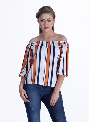 Orange striped cotton cotton-tops