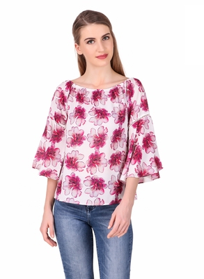 Pink printed cotton party-tops