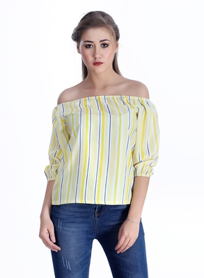 Yellow striped cotton cotton-tops